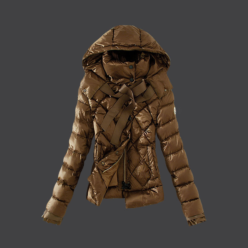 Cheap Moncler Down Coats Women Zipper Cuffs Brown MC1515 Sale